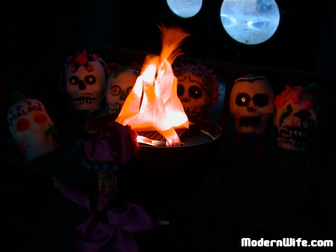 sugar skulls in our fireplace