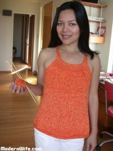 Orange Camisole Knitted