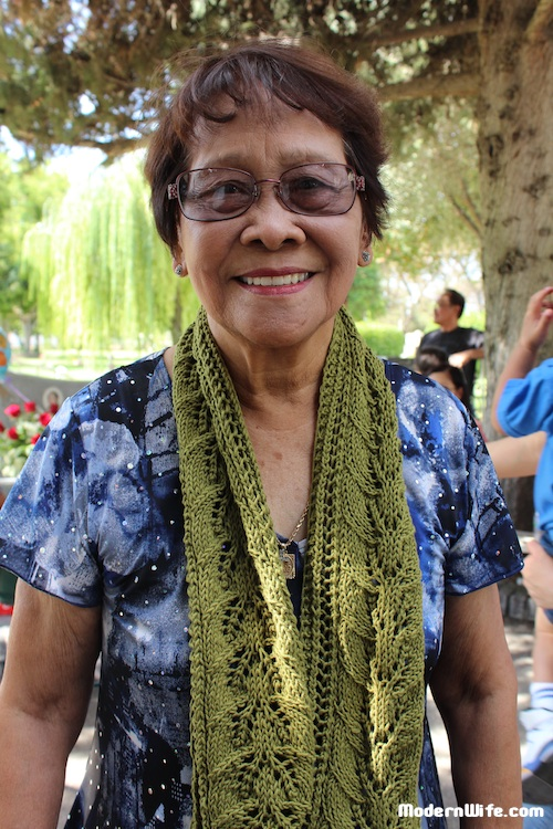 My grandmother wearing the column of leaves scarf